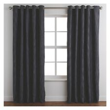 Branded Chambray Pair Of Eyelet Fully Lined Black Curtains 170 X 280cm