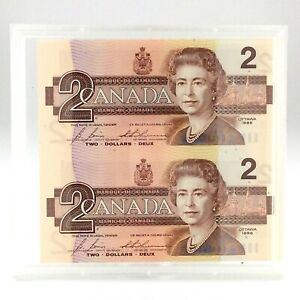 1986-Canada-Uncut-Pair-Two-2-Dollar-BRX-Uncirculated-Canadian-Banknote-L159