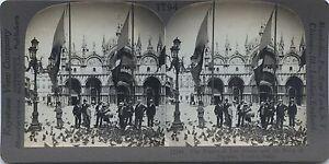Venezia Place Sant' Marc Italia Foto Stereo Stereoview Vintage