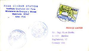 Pratique Années 1970 Pérou Nasa Space Station Commemorative Cover Correspondant En Couleur