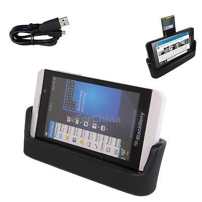 USB Data Transfer & Battery Charging Dock Stand for Blackberry Z10 - BLACK