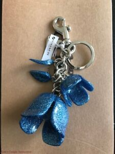 6ce85fa4 Details about NWT COACH Floral BLUE Glitter Resin Tea Rose Key Chain Ring  Fob Bag Charm F58514