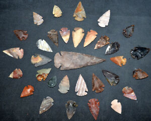 32-pc-lot-Flint-Arrowhead-OH-Collection-Project-Spear-Points-Knife-Blade