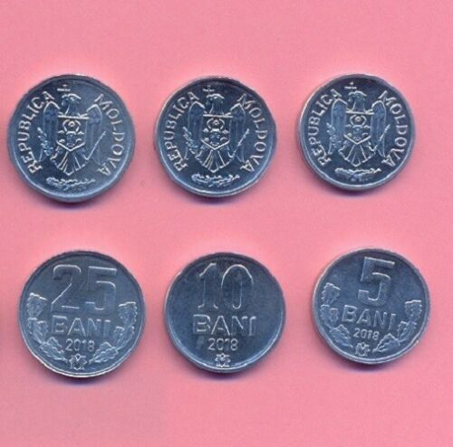 Moldova 2018 set of 3 coins 5-10-25 bani Uncirculated