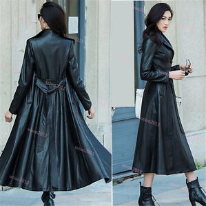 Womens Single Breasted Belted Full Length Long Leather Trench Jacket Coat  XS-8XL   eBay