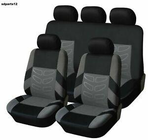 Renault-Citroen-Dacia-Housses-Jeu-Complet-Couvre-Siege-Gris-Noir-Tissu-Durable