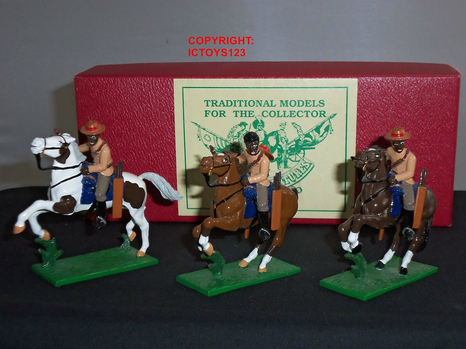 TROPHY MINIATURES ZS45 ZULU WAR NATAL NATIVE TROOPERS MOUNTED TOY SOLDIER SET