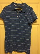 American Eagle Women's Blue And White Striped Polo Tshirt Size Large