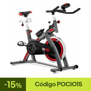 Bicicleta spinning FITFIU regulable disco inercia 24kg pulsometro y pantalla LCD