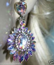 Rhinestone Chandelier Earrings Bridal Prom Pageant 2.5 in Long AB on Silver Tone