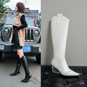 Women-039-s-Cowboy-Western-Pattern-Leather-Pointed-Toe-Knee-High-Knight-Boots-34-41
