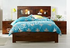 Contemporary Wooden Indian Queen Size Double Bed with Headboard Shelf & Lights !
