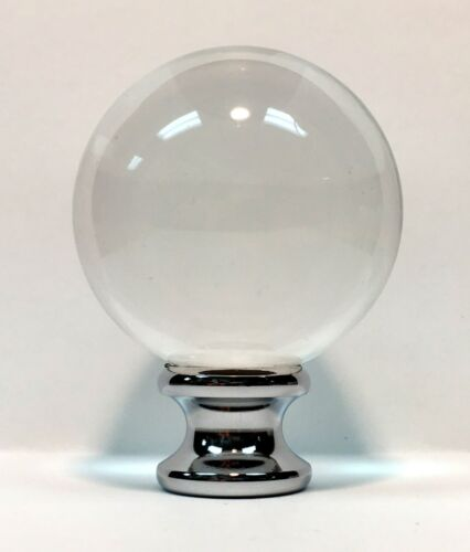 LAMP FINIAL-LARGE ORB OPTIC CRYSTAL LAMP FINIAL WITH CHROME BASE