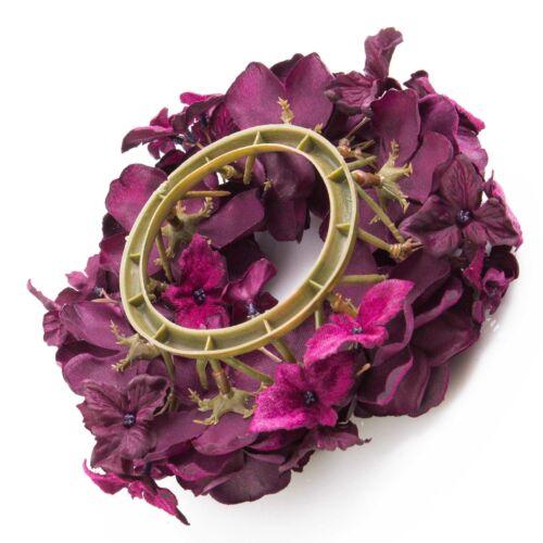 Artplants Artificial Candles Wreath Inga Rose Hydrangea Purple Ø15cm-table wreath