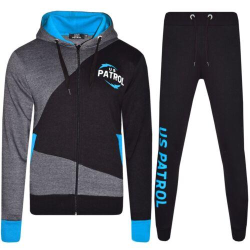 Mens Full Tracksuit Fleece Hooded Jogging Bottoms Joggers S M L XL Black PRINTED