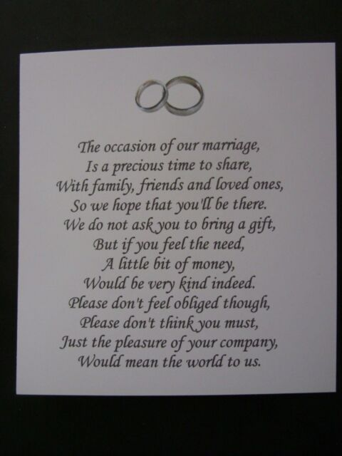 20 Wedding Poems Asking For Money Gifts Not Presents Ref No 13 Ebay