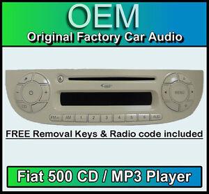 fiat 500 cd mp3 lettore, 500 autoradio colore crema con radio