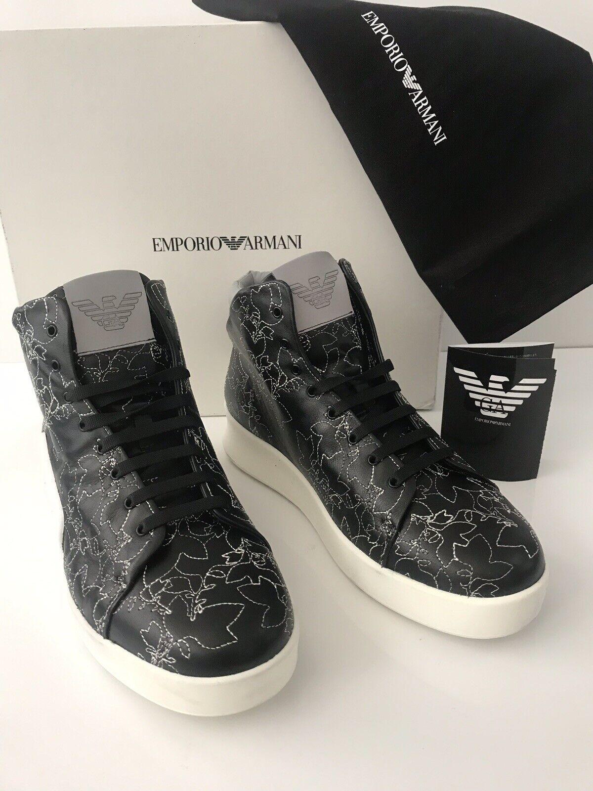 NIB  745 Emporio Armani Men's Floral Hi-Top Leather Sneakers Black 10.5 US