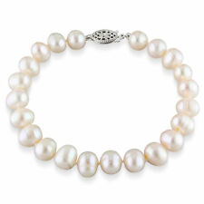 Amour Sterling Silver White Cultured Freshwater Pearl Bracelet (7.5-8 mm)