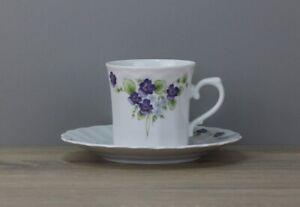 Eschenbach Dekor Veilchen Kaffeetasse Tasse mit Unterteller Untertasse Untere