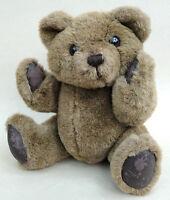 Cute Teddy Bear 13in Dark Brown Plush Tail Jointed 1970s Tubby Worn Pads Vintage