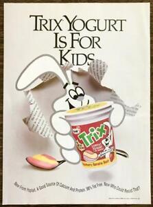 1992 Yoplait Trix Cereal Flavored Yogurt PRINT AD Bunny Strawberry Banana Bash