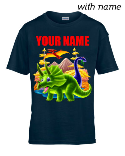DINOSAUR TRICERATOPS Children // Kids T-Shirt DTG Personalized YOUR NAME