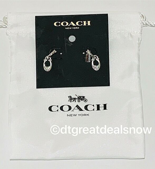 "NWT COACH Signature ""C"" Huggie Earrings SILVER Tone with PAVE Accents F29820"