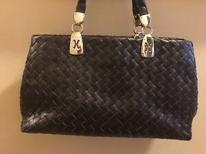 Image Is Loading Cole Haan Italian Woven Leather Handbag Tote Bag