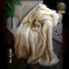 "Faux Fur Lounge Throw Blanket Champagne Fox 58"" X 60"" Fashion Luxury Decor"