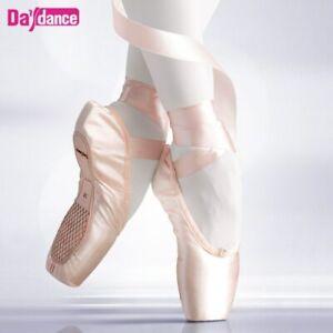 Girls-Kids-Ballerina-Ballet-Pointe-Shoes-Satin-Ribbon-Canvas-Dancing-Shoes-31-43
