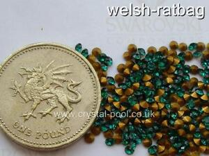 48-x-Swarovski-6ss-14pp-Emerald-gold-foiled-1012-chatons