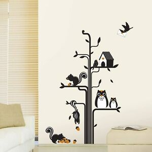 Owls-Squirrels-Tree-House-Wall-Stickers-Art-Decal-Mural-paper-Home-Decor-Kids