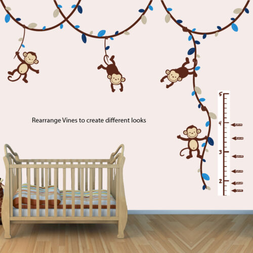 Boys Monkey Growth Chart Wall Decal, Height Chart for Wall, Monkey Vine Sticker