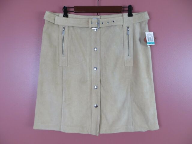 b58e5440a6 LTR0542-NWT MICHAEL KORS Woman Suede Leather Belted Pencil Skirt Pocket  Camel 16