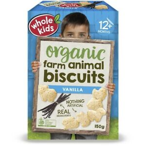 Whole Kids Organic Vanilla Farm Animal Biscuits 150g
