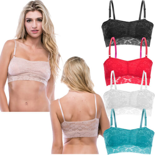 Floral Lace Removable Padded Bustier Cop Top Mesh Cami Brassiere Bra Wireless