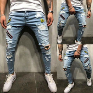 Mens-Stretchy-Ripped-Skinny-Jeans-Destroyed-Frayed-Slim-Fit-Denim-Pants-Trousers