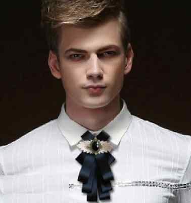 Black Wedding Men Pre Tied Lace Bow Tie Brooch Neck Tie Vintage Style Necktie