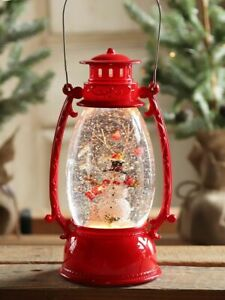 TURN-ON-The-LED-Red-Hurricane-Snowman-Lighted-Water-Lantern-amp-Watch-it-Snow