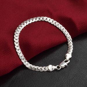 Solid-925-Silver-Men-039-s-Women-039-s-Italian-5mm-Cuban-Curb-Link-Chain-Bangle-Bracelet