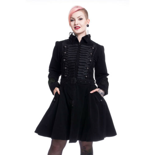 Poizen Gothic Black Velvet Steampunk  Military Rozalina Jacket Coat XL UK 16