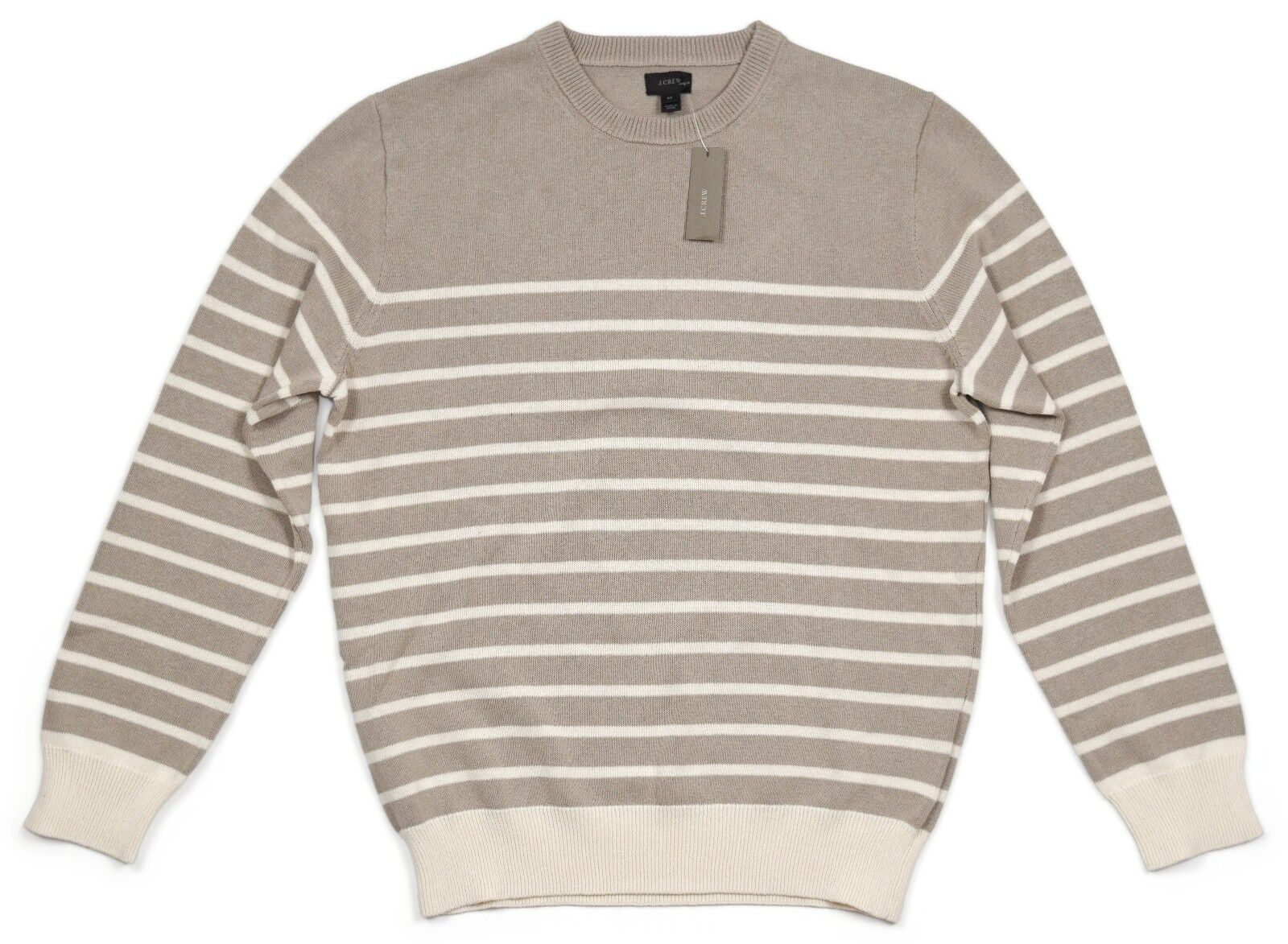 NEW J.Crew Men's Medium Striped Cotton Sweater in Pumice (Tan   Ivory) NWT