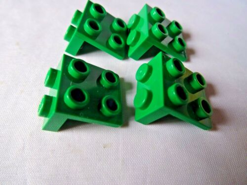 LEGO 1 x 2-2 x 2  GREEN  BRACKET x 4 PART No 44728