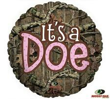 SET OF 2 MOSSY OAK It's a Doe Pink Girl Baby Shower Camo Hunt Balloons FREE SHIP