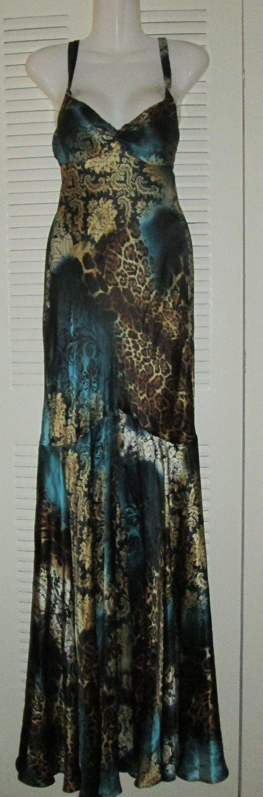 390 FABulous Mary L Couture Animal Cheetah Mermaid Evening Dress NWT Sz 6 GRN
