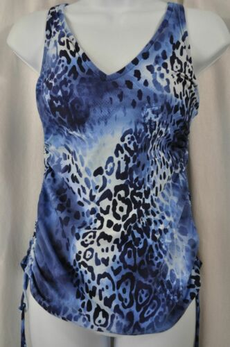 Croft /& Barrow KH90453D D-Cup Tummy Slimmer Blue Navy Animal Tankini MSRP $38