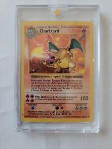 Pokemon Charizard 4/102 Holo Foil Base Set UNLIMITED Card Shadowless PSA 5 or 6?