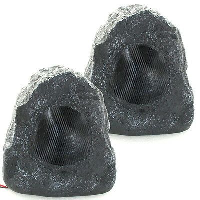 Acoustic Audio G4RS Grey 400W Indoor Outdoor Weatherproof Rock Speaker Pair New