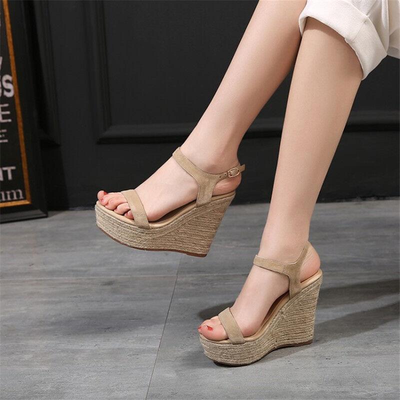 Womens Wedge Heels Hemp rope Ankle Strap Slingbacks Platform shoes Suede Sandals
